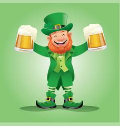 leprechaun holding the beers vector image