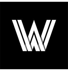 Letter W wide white stripes Logo monogram emblem vector image