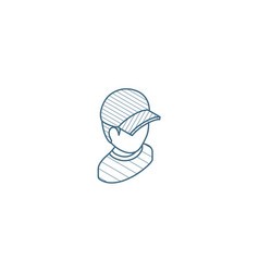 little boy in red cap isometric icon 3d line art vector image