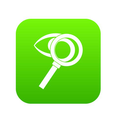 magnifying glass with eye icon digital green vector image