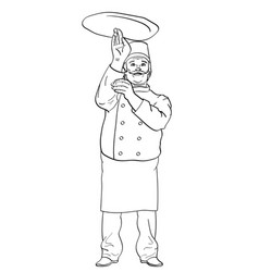 Man cook pizza chef tossing pizza dough comic vector