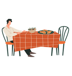 Man sitting table in restaurant waiting vector