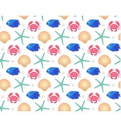 marine seamless pattern cartoon style underwater vector image