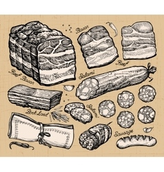meat market hand-drawn sketches of food vector image