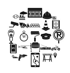 mechanical engineering icons set simple style vector image