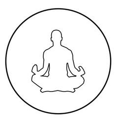 Meditating man practicing yoga symbol icon vector