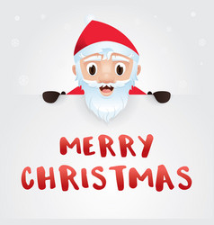 merry christmas card santa claus with big signboa vector image