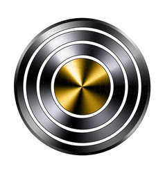 metal realistic ring button template steel gold vector image