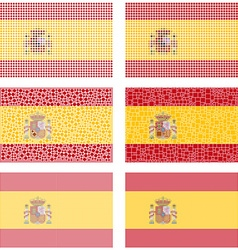 Mosaic Spain flag set vector