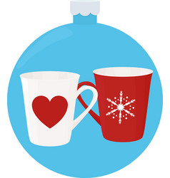 new year cup with ornaments in blue christmas-tree vector image