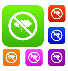 No flea sign set collection vector