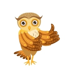 Owl Showing Thumbs Up Cute Cartoon Character Emoji vector image