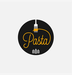 pasta logo with fork spaghetti on black vector image