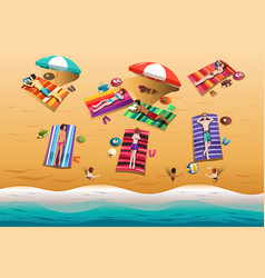 people sunbathing on the beach vector image