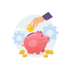 piggy bank and hand with coin flat vector image