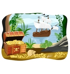 Pirate ship visible from a cave vector