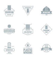 Plastic window logo set simple style vector
