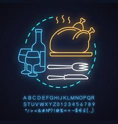 restaurant neon light concept icon vector image