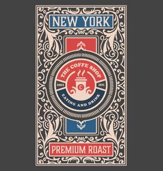 Retro coffee shop label concept vector