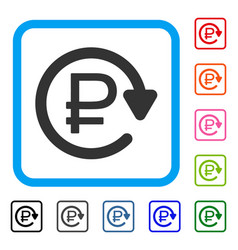 Rouble recurring payment framed icon vector