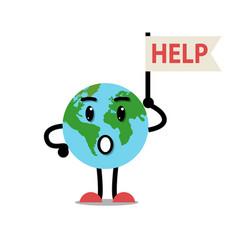 sad earth character vector image