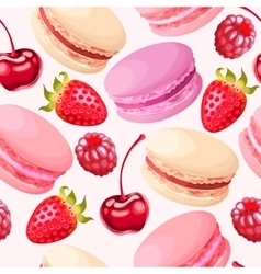 Seamless macaron and berries vector
