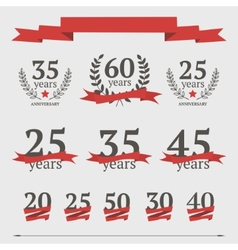 set anniversary signs vector image