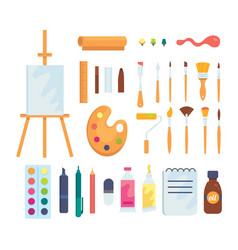 set of colored painting tools icons in vector image