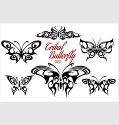 set of symmetric butterfly tattoos vector image