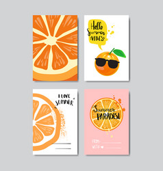 set summer love orange badge isolated typographic vector image