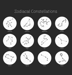 Set zodiacal constellations round vector