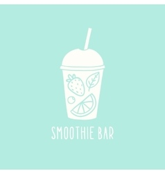 Smoothie bar logotype hand drawn cup to go vector image