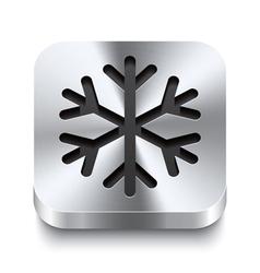 Square metal button perspektive - snowflake icon vector