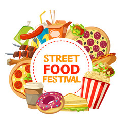 Street food and fastfood festival poster vector