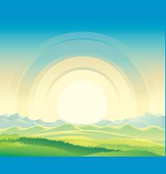Summer rural landscape dawn above hills vector