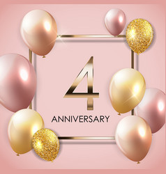 Template 4 years anniversary background vector