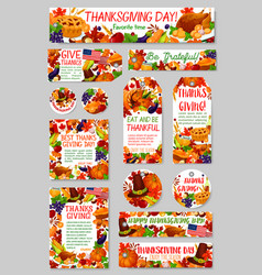 thanksgiving day autumn harvest holiday tag set vector image