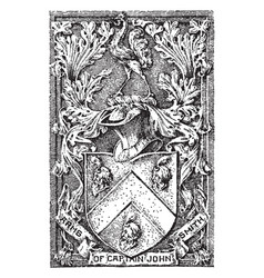 The coat of arms of captain john smith vintage vector