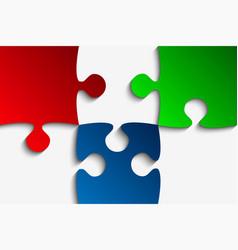 Three rgb piece puzzle jigsaw vector
