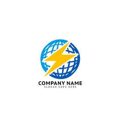 thunder world logo template vector image