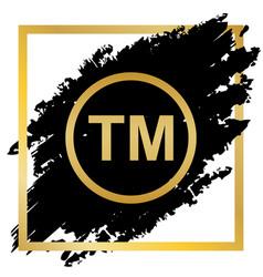 Trade mark sign golden icon at black spot vector