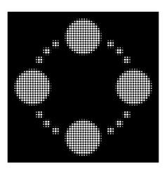 White halftone circular relations icon vector