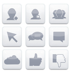 white social Network app icon set Eps10 vector image