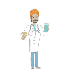 young pharmacist giving pills and glass of water vector image