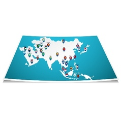 Asian map with flag pin vector image vector image