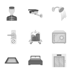 Hotel set icons in monochrome style Big vector image vector image