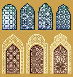 islamic windows and doors with arabian art vector image vector image