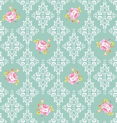 Seamless Pattern with roses and damask elements vector image