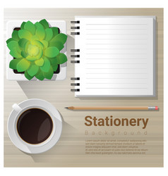 Stationery background with office equipment vector
