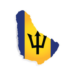 barbados flag amp map vector image vector image